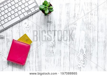 Shopping in webstore. Bank card and keyboard