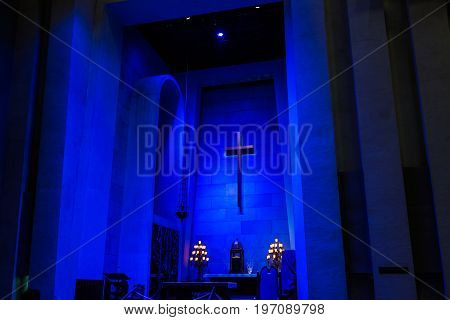 Montreal, Canada - May 28, 2017: Inside St Joseph's Oratory On Mont Royal With View Of Blue Chamber