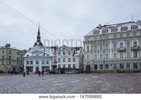 TALLINN ESTONIA - FEBRUARY 23 2016: Town Hall square in Old Town of Tallinn Estonia. Old Town is listed in the UNESCO World Heritage List