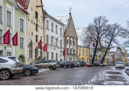 TALLINN ESTONIA - FEBRUARY 23 2016: Street of Old Town in Tallinn Estonia. Old Town is listed in the UNESCO World Heritage List