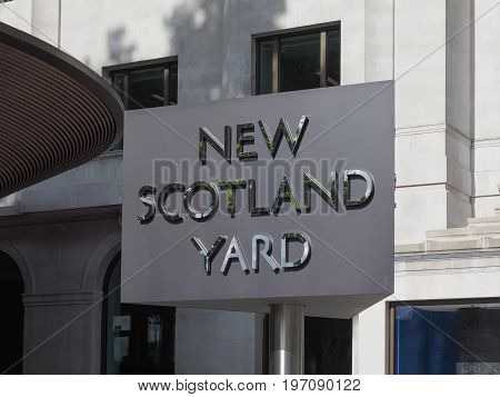 New Scotland Yard Police Sign In London