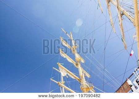 The Tall Ships Races Kotka 2017. Kotka, Finland 16.07.2017. Masts Of Ship Mir In The Sunlight In The