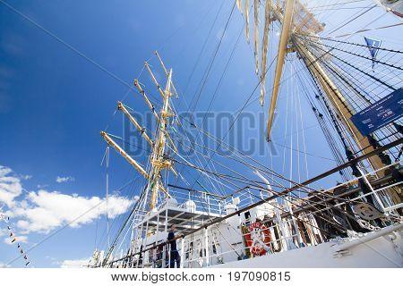 The Tall Ships Races Kotka 2017. Kotka, Finland 16.07.2017. Ship Mir In The Port Of Kotka, Finland.