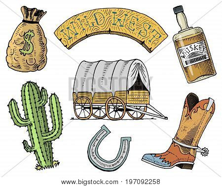 Wild west, rodeo show, sheriff, cowboy or indians. cart and wooden signboard, money bag, boot with horseshoe, whiskey and cactus. engraved hand drawn in old sketch or Monochrome and vintage style
