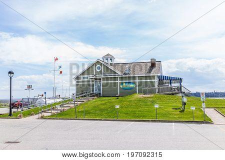 Portneuf, Canada - May 29, 2017: Restaurant On Pier Called La Perle Du Saint-laurent On Saint Lawren