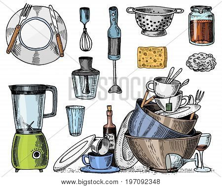 colander, blender and juicer, dirty dishes, jam and sponge for washing. Chef and dirty kitchen utensils, cooking stuff for menu decoration. engraved hand drawn in old sketch or and vintage style