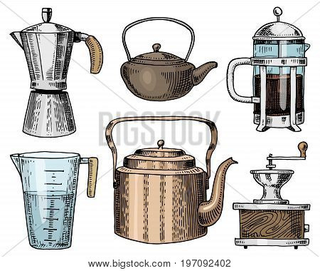 Coffee maker or grinder, french press, measuring capacity, Chinese teapot or kettle. Chef and kitchen utensils, cooking stuff for menu decoration. engraved hand drawn in old sketch, vintage style