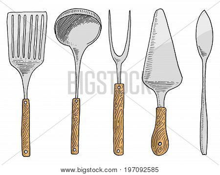 spatula for hot, caviar and dessert, fork for herring or ladle. Chef and kitchen utensils, cooking stuff for menu decoration. engraved hand drawn in old sketch and vintage style
