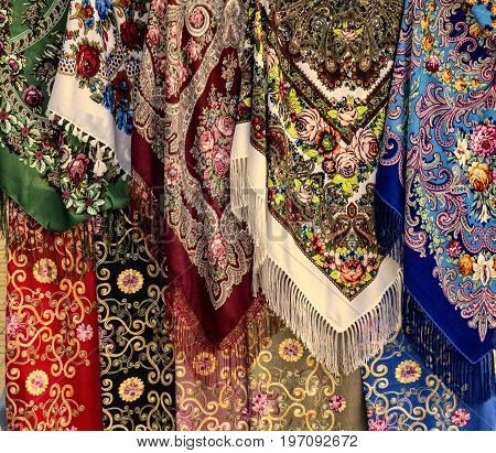 Vibrant background of multi-colored fabric ornament Patterns