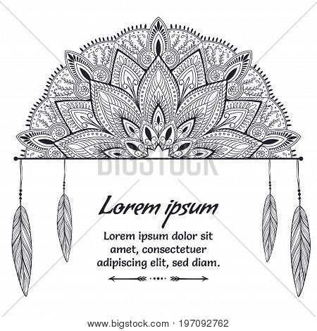 Beautiful card with Feather. Card of mandala in vector, cards or for any other kind of design, birthday and other holiday. Monochrome illustration. kaleidoscope, india