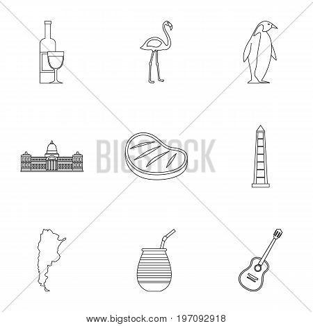 Wild nature of Argentina icons set. Outline set of 9 wild nature of Argentina vector icons for web isolated on white background