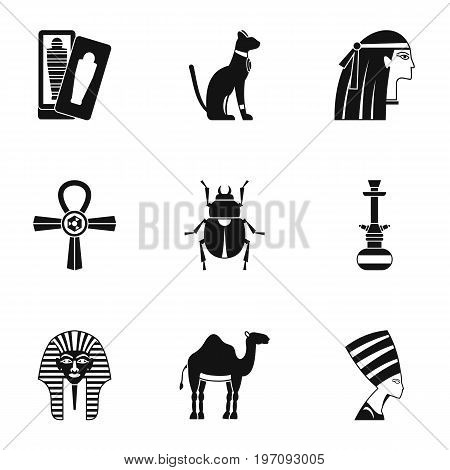 Cairo travel icons set. Simple set of 9 Cairo travel vector icons for web isolated on white background