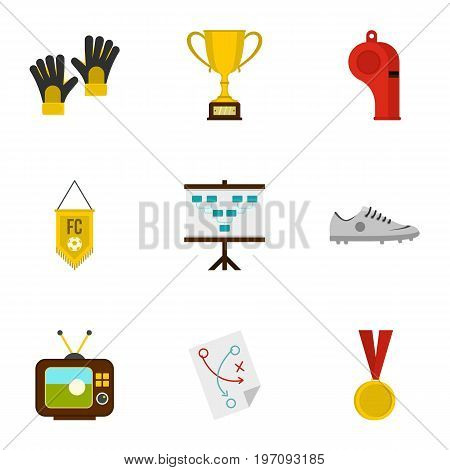 Football equipment icons set. Flat set of 9 football equipment vector icons for web isolated on white background