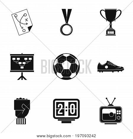 Football equipment icons set. Simple set of 9 football equipment vector icons for web isolated on white background
