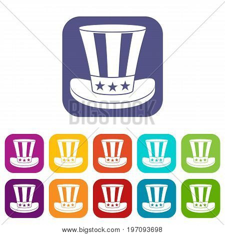 American hat icons set vector illustration in flat style in colors red, blue, green, and other