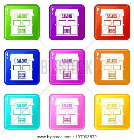 Western saloon icons of 9 color set isolated vector illustration