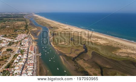Aerial. The port in Cabanas Tavira. View from the sky.