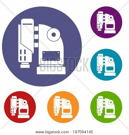 Pneumatic hammer machine icons set in flat circle red, blue and green color for web