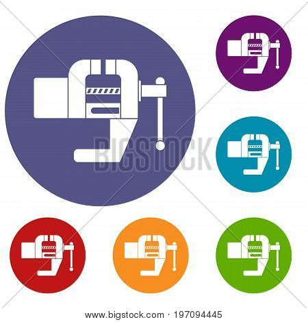 Vise tool icons set in flat circle red, blue and green color for web