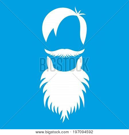 Male avatar with beard icon white isolated on blue background vector illustration