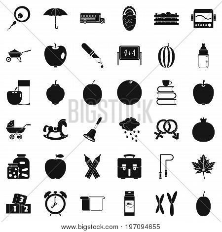 Education icons set. Simple style of 36 education vector icons for web isolated on white background