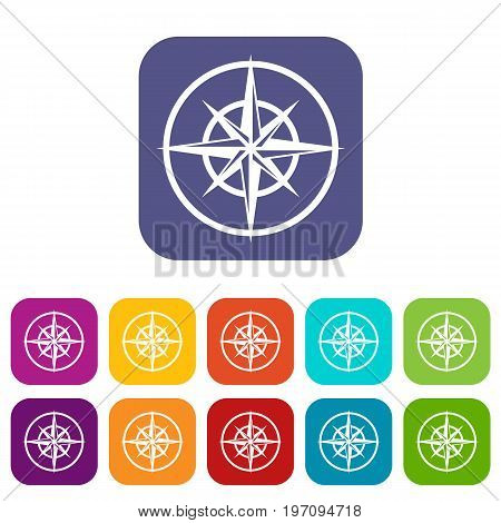 Sign of compass to determine cardinal directions icons set vector illustration in flat style in colors red, blue, green, and other