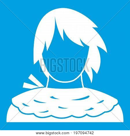 Male shorn icon white isolated on blue background vector illustration