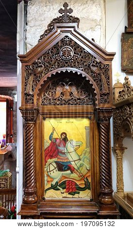 RAMLA ISRAEL - JULY 22 2017: Icon with the image of St. George the Victorious defeating the dragon