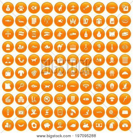 100 cat icons set in orange circle isolated on white vector illustration