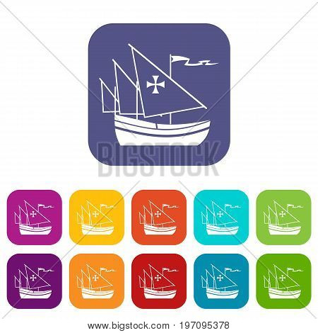 Ship of Columbus icons set vector illustration in flat style in colors red, blue, green, and other