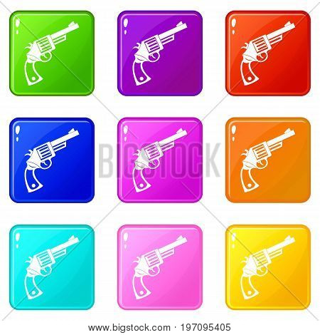 Vintage revolver icons of 9 color set isolated vector illustration