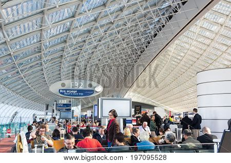 PARIS FRANCE - APRIL 19 2016: Paris Charles de Gaulle Airport also known as Roissy Airport (name of the local district) is the largest international airport in France
