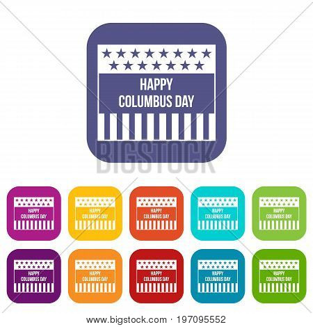 Happy Columbus day icons set vector illustration in flat style in colors red, blue, green, and other