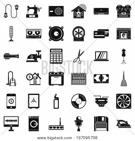 Household icons set. Simple style of 36 household vector icons for web isolated on white background
