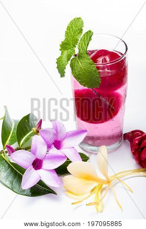 Refreshing Tropical Cocktail With Fresh Flowers