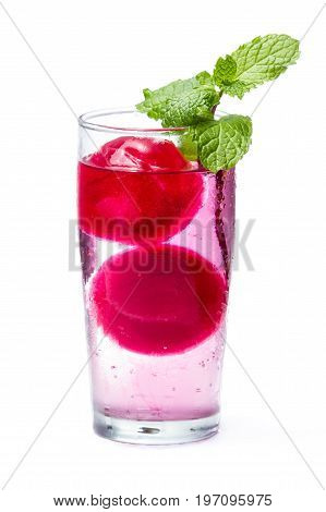 Refreshing Cocktail With Red Ice Balls