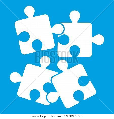 Jigsaw puzzles icon white isolated on blue background vector illustration