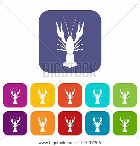 Lobster icons set vector illustration in flat style in colors red, blue, green, and other