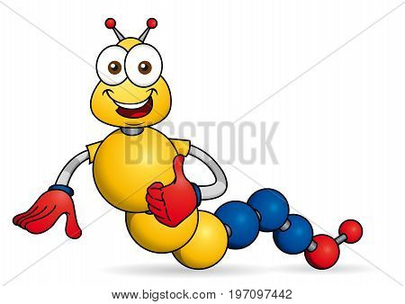 Cartoon character. Caricature of worm with hands formed by spheres with the colors of the flag of Colombia or Ecuador. Vector image