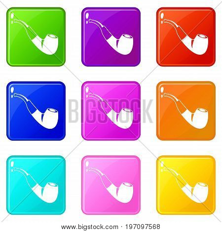 Smoking pipe icons of 9 color set isolated vector illustration
