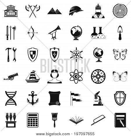 Archeology icons set. Simple style of 36 archeology vector icons for web isolated on white background