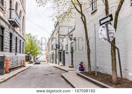 Quebec City, Canada - May 29, 2017: Old Town Empty Narrow Alley Street Called Rue Saint Angele With