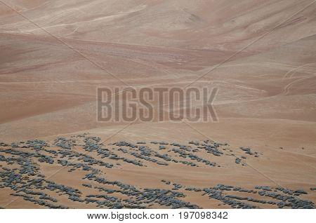 Natural background - aerial view to the desert
