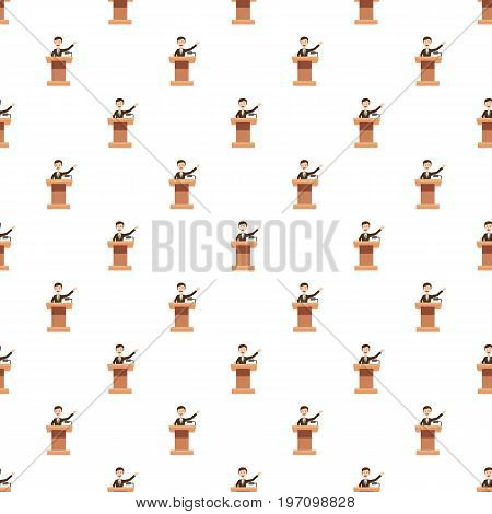 Speaker makes a report to the public pattern seamless repeat in cartoon style vector illustration