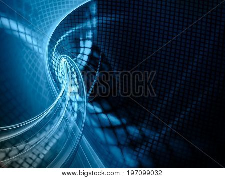 Abstract blue background element. Grids and curves series. Fractal graphics. Composition of net shapes, curves, motion blur and waveforms. High resolution.