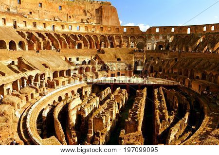 Rome Italy,November 7th 2013.One of Romes most famous landmarks is the Roman Colosseum.This image shows the interior and intricate architecture of the Colosseum even after 2000 years of antiquity.A must see when in the Italian capital.