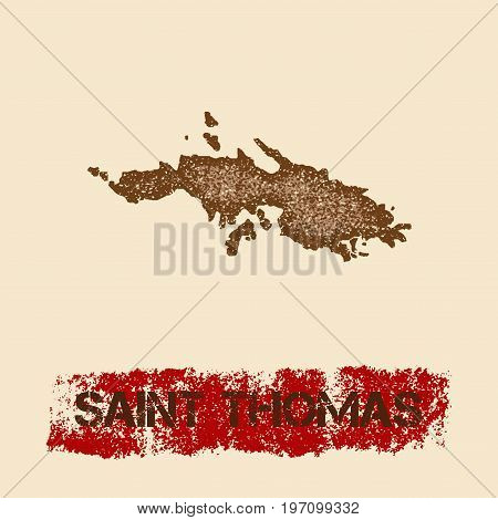 Saint Thomas Distressed Map. Grunge Patriotic Poster With Textured Island Ink Stamp And Roller Paint