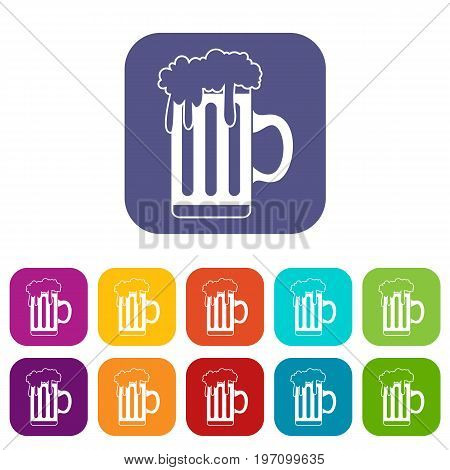 Mug with beer icons set vector illustration in flat style in colors red, blue, green, and other