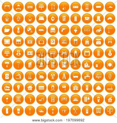 100 comfortable house icons set in orange circle isolated on white vector illustration