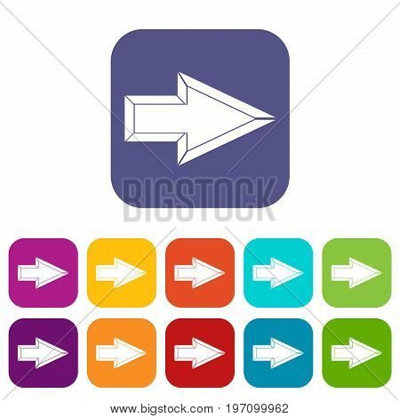 Pointer icons set vector illustration in flat style in colors red, blue, green, and other